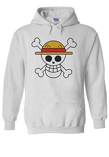 One Piece Flag Japanese Manga ????? Novelty White Men Women Unisex Hooded Sweatshirt Hoodie-M White Womens Sweatshirt