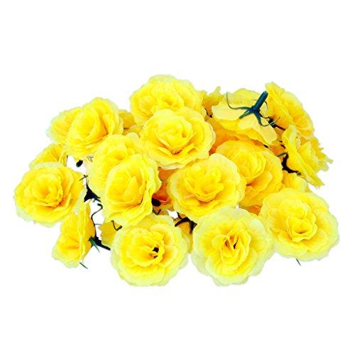 50pcs Kunstseide Kunstblumen Rose bluete koepfe Hochzeit Parteidekor Bulk Gelb