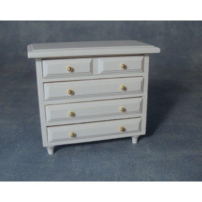 Dolls House Miniature 1:12th Scale White Chest of Drawers