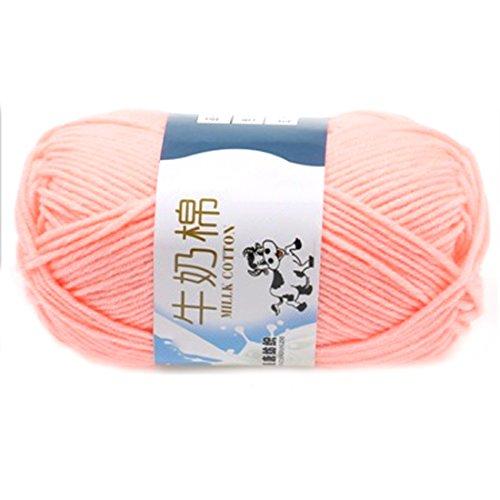 Glatte weiche Milch Cotton Natural Hand Strickwolle Garn Ball Baby Wool Craft Fleisch Rosa