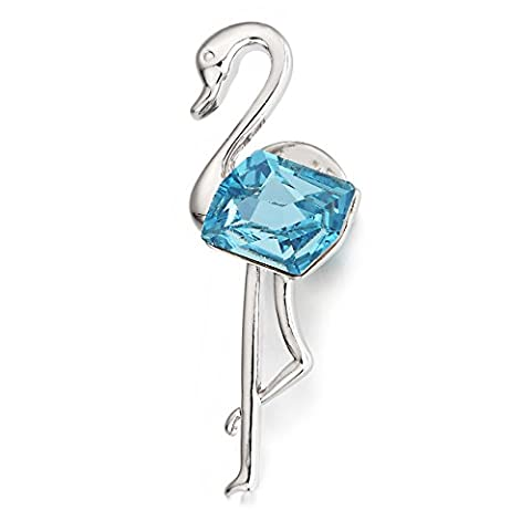 """Swarovski Elements Aquamarine Crystal """"Elegant Heron"""" Brooch Rhodium Plated - Ideal Gift for Women and Girls - Comes In Gift Box"""