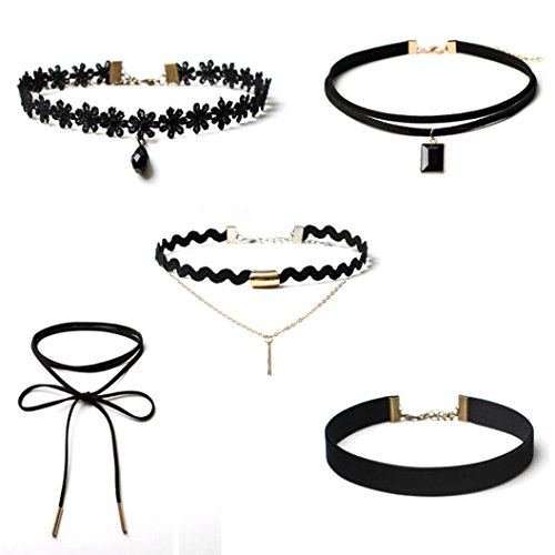 Clearance Deal. Hot Sale. Halskette, fitfulvan 2018 New 5 Teile Collier Set Stretch Samt Kropfband Gothic Tattoo Spitze Armband As Show schwarz