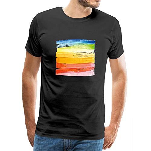 Men's Casual Tees Watercolor Rainbow Paint Typography Short Sleeve Crew Neck T-Shirts Cotton Shirts XXXL Black (Volcom-zeichen)