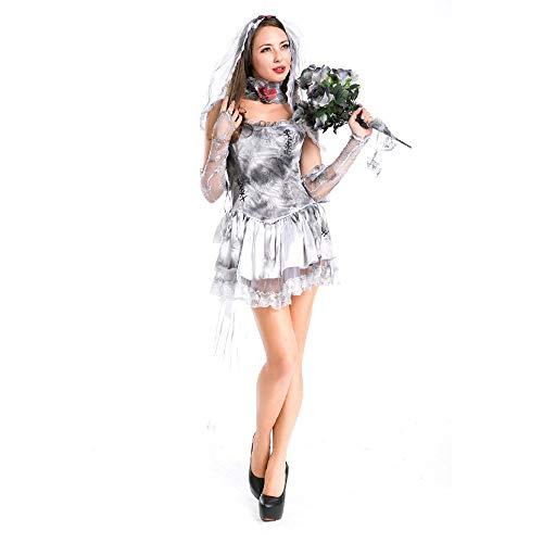 Sttsale Halloween Kostüm Mädchen, Dunkles Geist-Brautkostüm des Nettogarns Cosplaynachtklubnachtstab ds Kostüm des weiblichen Erwachsenen (Verbrecher Kostüm Weiblich)