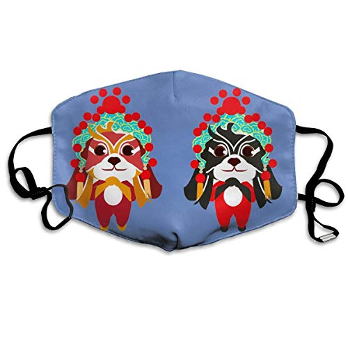 Dog Bilder Kostüm Cute - liang4268 Mundmasken Anti Dust Mask Lovely Peking Opera Dog Anti Pollution Washable Reusable Mouth Masks Cotton Cute Shape for Kids Teens Men