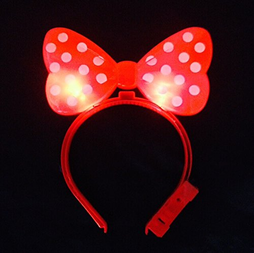 s LED blitzt blinkt Big Mickey Haar-Bogen-Haar-Band-Stirnband Halloween-Fantasie-Partei-Kugel (Rot) (Lustige Holloween)