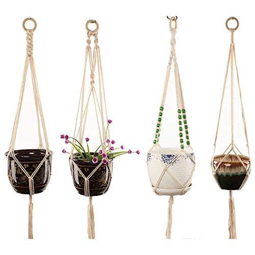 TSLBW Makramee-Pflanzenaufhänger, Pflanzenhalter mit Schlüsselring, handgefertigt, zum Aufhängen, Pflanzgefäß, für Blumentopf, Innenbereich, Außendekoration, 4 Stück