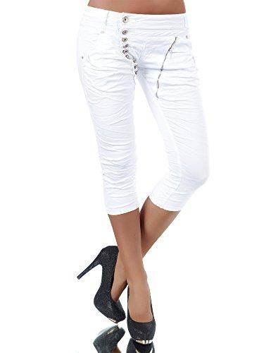 N123 Damen 3/4 Capri Jeans Hose Shorts Damenjeans Hüftjeans Caprijeans Boyfriend, Farben:Weiß;Größen:40 (L)