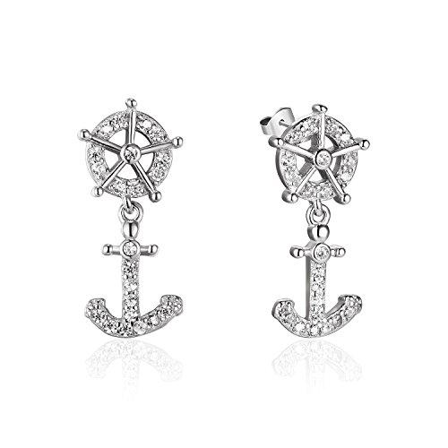 De Aretes Oro (Silberfarbenes 925Sterling Silber Ruder und Anker-Muster Zirkonia Inlay Ohrringe Schmuck)