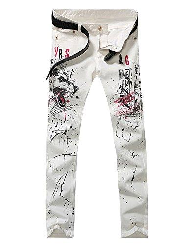 Herren Slim Fit Hosen Freizeithose Bedruckt Stretch Skinny Straight Leg Denim Jeans Weiß 34 (Leg Taille Straight Jeans Skinny)
