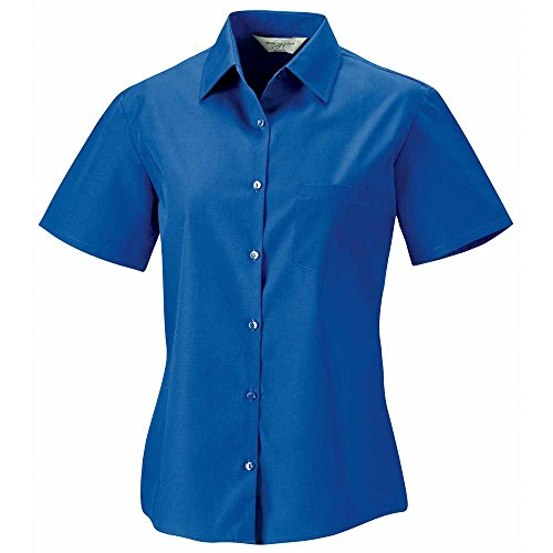 Russell Collection Ladies Short Sleeve 100% cotton poplin shirt (Panel Button-up-shirt)