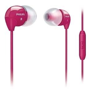Philips SHE3515PK Écouteurs intra-auriculaires avec micro, commandes mains libres et 3 paires d'embouts interchangeables, câble 1.2m, Rose