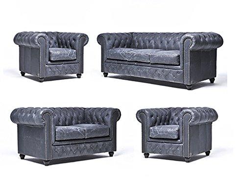 Original Chesterfield Sofas und Sessel – 1 / 1 / 2 / 3 Sitzer – Vollständig Handgewaschenes Leder – Vintage Schwarz