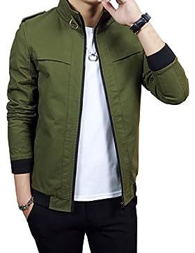 Bomber Jacket, Chaqueta Clásico Manga Larga Para Hombre Con Cremallera Verde del ejército 2XL