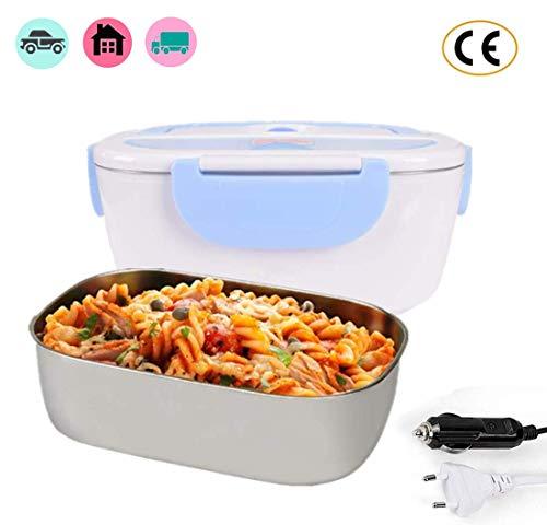 Nifogo lunch box elettrico 2 in 1 contenitore elettrico portavivande elettrico scaldavivande per l'ufficio, casa, scuola 12v e 220v 40w (blu)