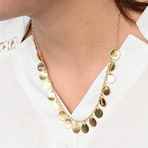 XUHAHAXL Halskette/Accessoires, Antik, Einfach, Modisch, Metall, Pailletten, Quasten, Kurze Halskette.