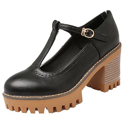 AIYOUMEI Damen T-spangen Chunky Heel Knöchelriemchen Pumps mit 8cm Absatz Blockabsatz Bequem Schuhe Schwarz