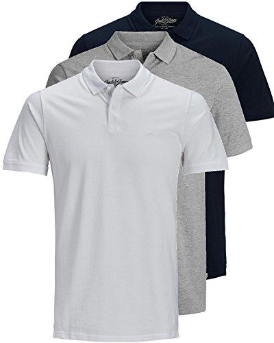 JACK & JONES 3er Pack Herren Poloshirt Slim Fit Kurzarm schwarz weiß blau grau XS S M L XL XXL Einfarbig Gratis Wäschenetz von B46 (3er Pack Mix5, S)