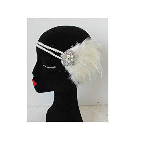 Starcrossed Beauty N65 Bandeau vintage en plumes et avec perles style années 20 Blanc ivoire