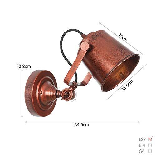 Bar Wandlampe 1-Licht, Vintage Verstellbare Industrie Schmiedeeisen Wandleuchte, Wandleuchte Für Schlafzimmer Arbeitszimmer Western Restaurant, Max 40W,Rust -
