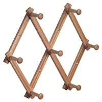 InterDesign Formbu Wall Mount Expanding Peg Hooks Rack, Natural Bamboo