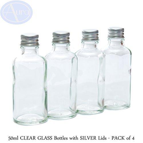 Aura Lot de 4 flacons en verre transparent avec couvercle argenté - 50 ml