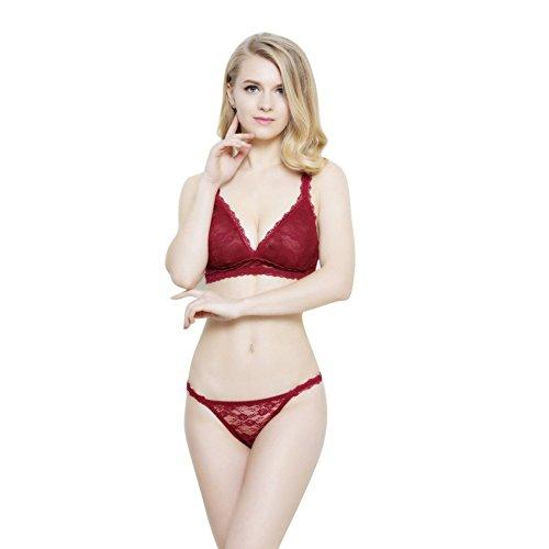 Vertvie Damen Dessous Set Reizwäsche Dünn Lingerie Transparent Unterwäsche Push Up Spitze Ohne Bügel BH und Slip Panty mit Stickerei(80E, Rot)