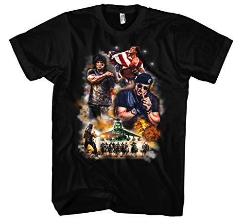 Sylvester Stallone Männer und Herren T-Shirt | Rambo Rocky Retro 80er Vintage Kult (3XL, Schwarz Druck:Bunt)