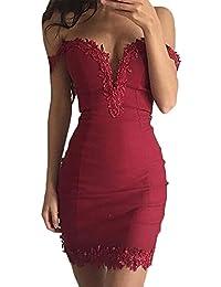 BoBoLily Donna Vestiti Da Sera Corti Eleganti Da Cerimonia Estivi Senza  Spalline Matita Abito Del Merletto Vintage… 07b973c4694