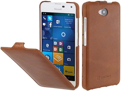 StilGut UltraSlim Case, Hülle aus Leder für Microsoft Lumia 650/650 Dual SIM, Cognac