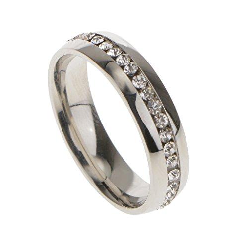 Anillo de Boda Compromiso Dedo Diamantes de Imitación Unsex Decoración Boda Color Plata US 12