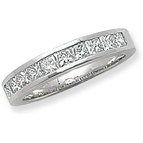 9pietra Canale Anello in oro bianco 18kt con diamante taglio Princess G/H SI21,00ct