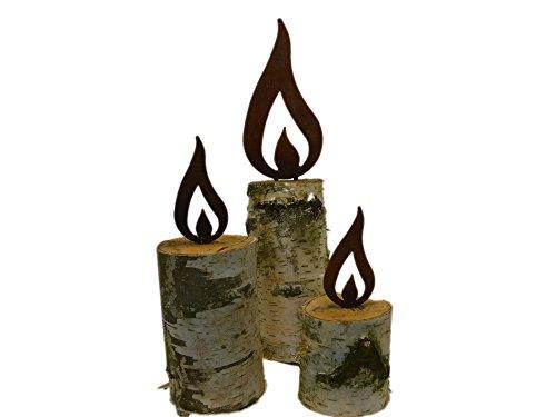 ARTTEC Design Flamme Kerze (Edelrostdeko) (3er Set)