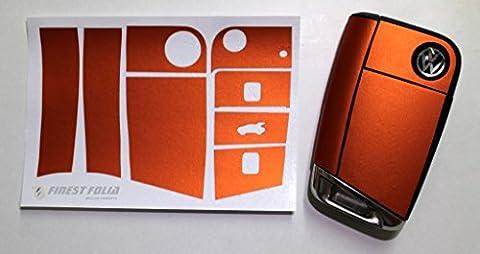 Matt Chrom Orange Folie Dekor Schlüssel von Finest-Folia VW Golf 7 MK7 Skoda Octavia III 5E RS GTI