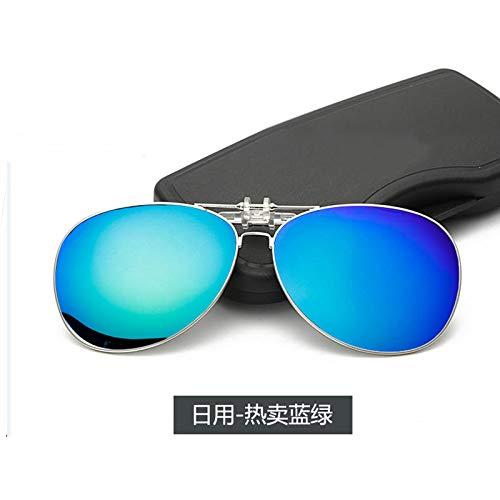 CYCY Polarisierte Myopie-Sonnenbrillen-Clips Umgedrehte Sonnenbrillen-Clips Männer und Frauen Autofahrer Myopia Eyes Nachtsichtbrillen Hot Ice Blues Blaue und grüne Tabletten