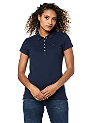 Tommy Hilfiger Damen NEW CHIARA STR PQ POLO SS Poloshirt, Blau (CORE NAVY 475), 42 (XL)