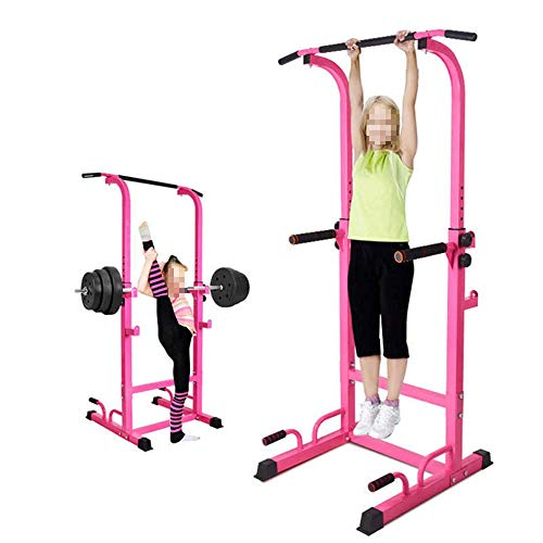 DHM-Fitness Equipment rutschfest Für Heimfitness Langlebige Multifunktions-Power Tower-Tauchstation und Klimmzugstange dauerhaft (Farbe : Rosa, Größe : 195 * 76.5 * 65cm) -