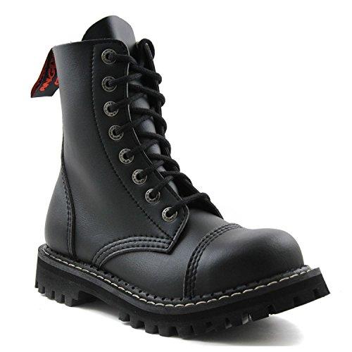 Angry Itch 8 agujero botas militares de cuero negro veganos 43