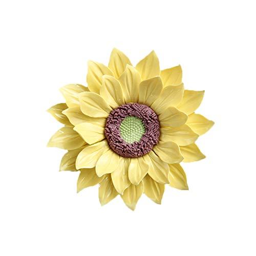 ALYCASO Sonnenblume 3D Keramik Blume für Zuhause, Küche, Wohnzimmer, Schlafzimmer, Wandskulpturen, Dekoration zum Aufhängen von Blumen 4.72 in gelb -