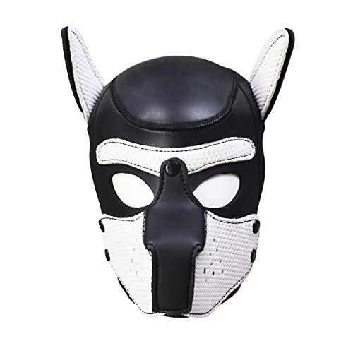 Risunpet Vollgesichtsmaske Hund Welpe Kapuze Lederhelm Abnehmbarer Mund Cosplay Kostüm Party Requisiten,L,Schwarz & - Schwarze Und Weiße Welpen Kostüm