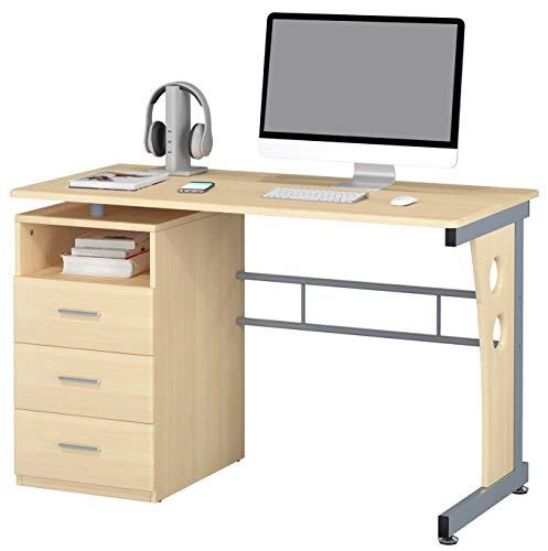 SixBros. Computerschreibtisch mit viel Stauraum, 3 Schubladen, Schreibtisch in Ahorn Holzoptik, 120 x 58 cm S-352/112