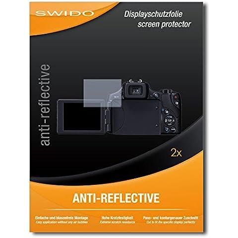 2 x SWIDO Anti-Reflective Pellicola protettiva anti-riflesso e con rivestimento resistente per Canon Powershot SX60 HS / SX-60 HS / SX60HS - QUALITA' PREMIUM - Made in Germany