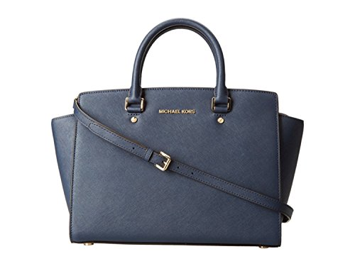 Michael Kors Handbag Selma Large Top Zip East West Satchel (Navy)