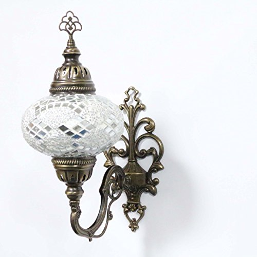 Handmade Turkish Mosaic Sconce Wall Lamp, Stunning Moroccan Style with Large Size (17cm) Glass Globe by TK Bazaar (Coral)