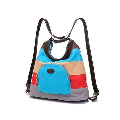 Q.KIM Multicolor Multifunzionale Borse Donna Vintage Tela Borsa Tela Delle Signore Borsetta Messenger Bag,Stile F,Khaki Stile F,Blu