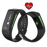 DXable Pulsera Deportiva Inteligente - V6 Fitness Tracker - tiempo real monitor de ritmo cardiaco reloj inteligente IP68 impermeable Pulsera 30 días Tiempo de espera para Android IOS