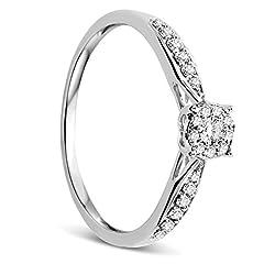 Idea Regalo - Orovi Anello Donna in Oro Bianco con Diamanti Taglio Brillante Ct 0.20 Oro 9 Kt / 375