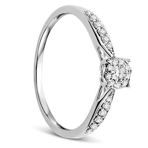 Orovi Anello Donna in Oro Bianco con Diamanti Taglio Brillante Ct 0.20 Oro 9 Kt / 375