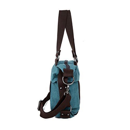 HeHe - Borsa da donna a tracolla da spalla di tela Mutil Function Bag Female Crossbody Bag Borse Tote Borse a mano Blu