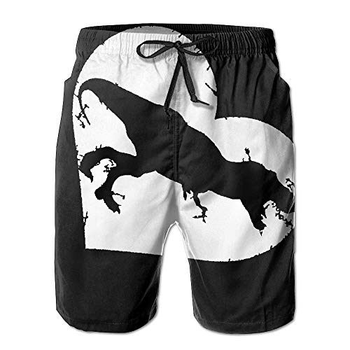 Nicegift Funny Cute T Rex Dinosaur Heart Men's Summer Beach Shorts Swim Trunks Household Pants with Pockets Quick Dry Swim Trunks L -